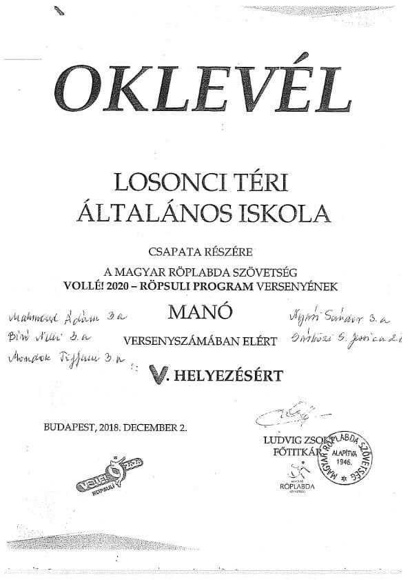 OKLEVÉL MANÓ V.hely