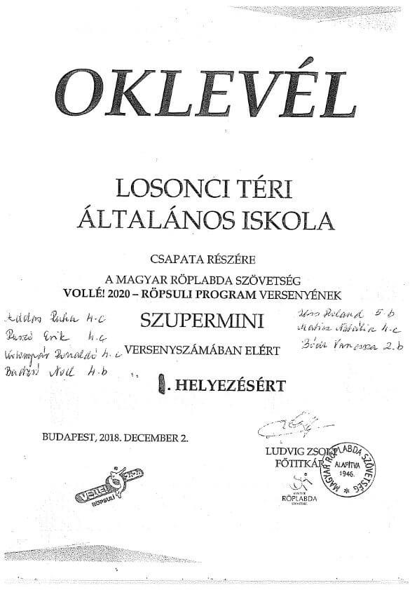 OKLEVÉL Szupermini I.hely
