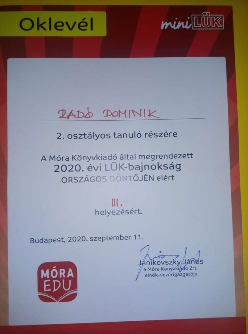Radó Domi LÜK országosIII. oklevél20200911